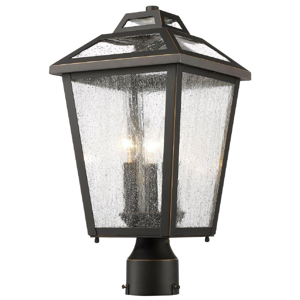 Wilkins 3 Light Oil Rubbed Bronze Modern Outdoor Lamp Post Mount With Clear  Seeded Glass Shades