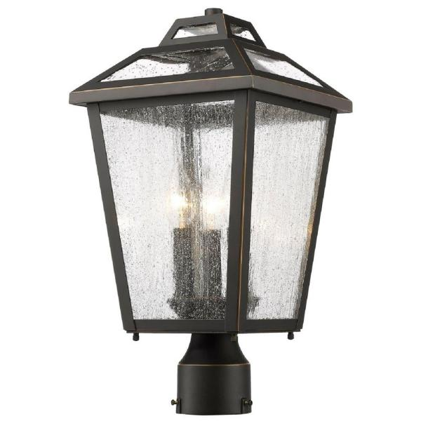 Glomar Concord 3-Light Old Bronze Outdoor Lamp Post Head Compatible LED CFL