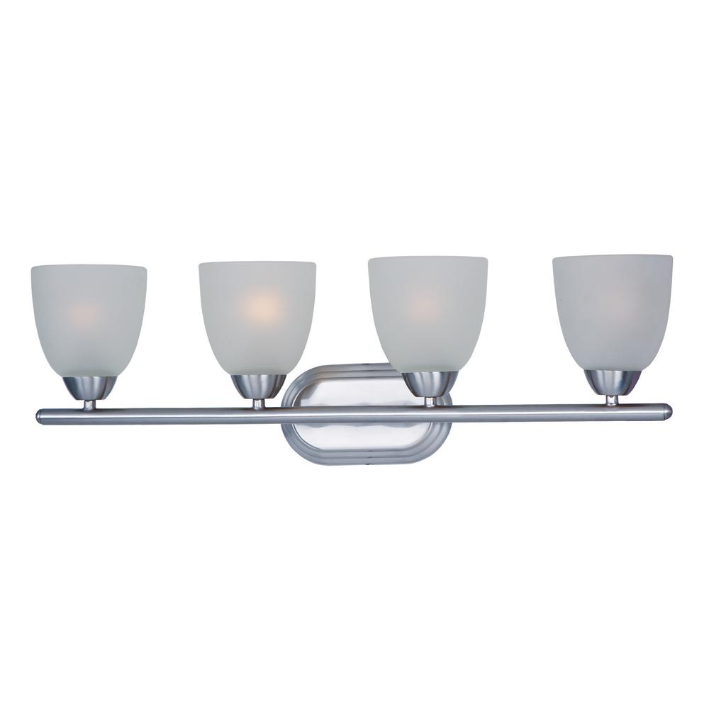 Axis 4-Light Polished Chrome Bath Light with Frosted Shade