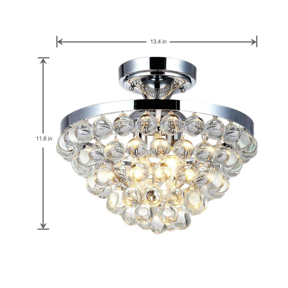 4 Light Chrome Semi Flush Mount
