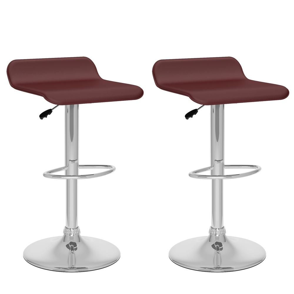 Adjustable Height Brown Leatherette Swivel Bar Stool with Curved Seat (Set