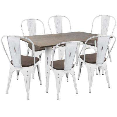 Oregon 7-Piece Vintage White and Espresso Dining Set