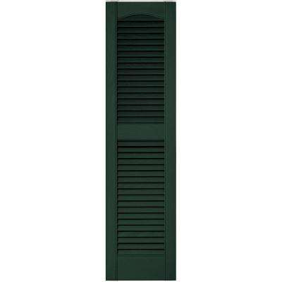 12 in. x 48 in. Louvered Vinyl Exterior Shutters Pair in #122 Midnight Green