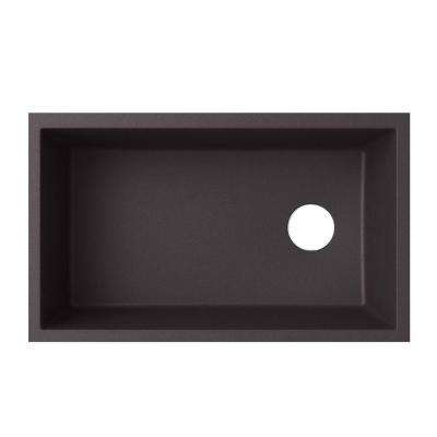 Undermount Granite 32 in. 0-Hole Single Bowl Kitchen Sink in Nero