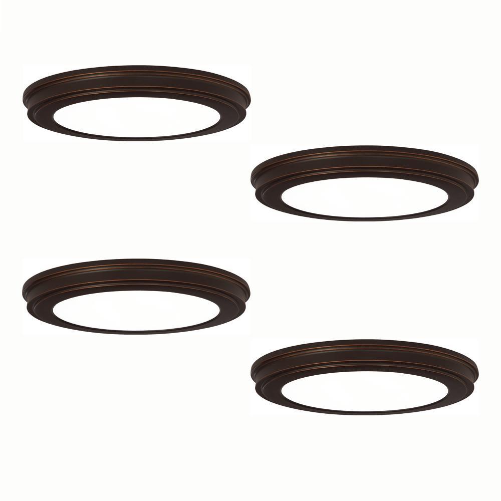 13 in. Oil Rubbed Bronze LED Flush Mount (4-Pack)