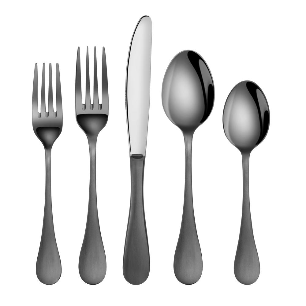 Artaste Rain 1810 Stainless Steel Flatware 20 Piece Set Black
