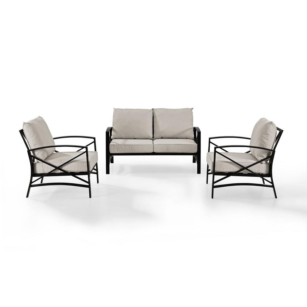 Crosley Kaplan 3 Piece Metal Patio Outdoor Seating Set With Oatmeal