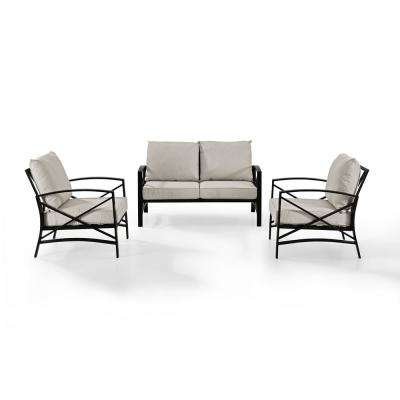 Kaplan 3-Piece Metal Patio Outdoor Seating Set with Oatmeal Cushion - Loveseat, 2-Outdoor Chairs