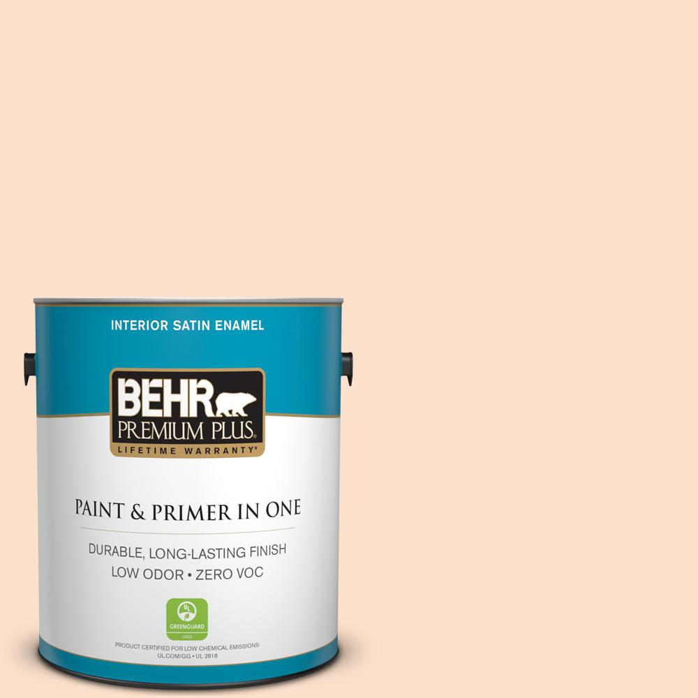 BEHR Premium Plus 1-gal. #P200-1 Melted Marshmallow Satin Enamel Interior Paint
