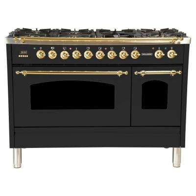 48 in. 5.0 cu.ft. Double Oven Dual Fuel Italian Range True Convection,7 Burners,Griddle,LP Gas,Brass Trim/Matte Graphite
