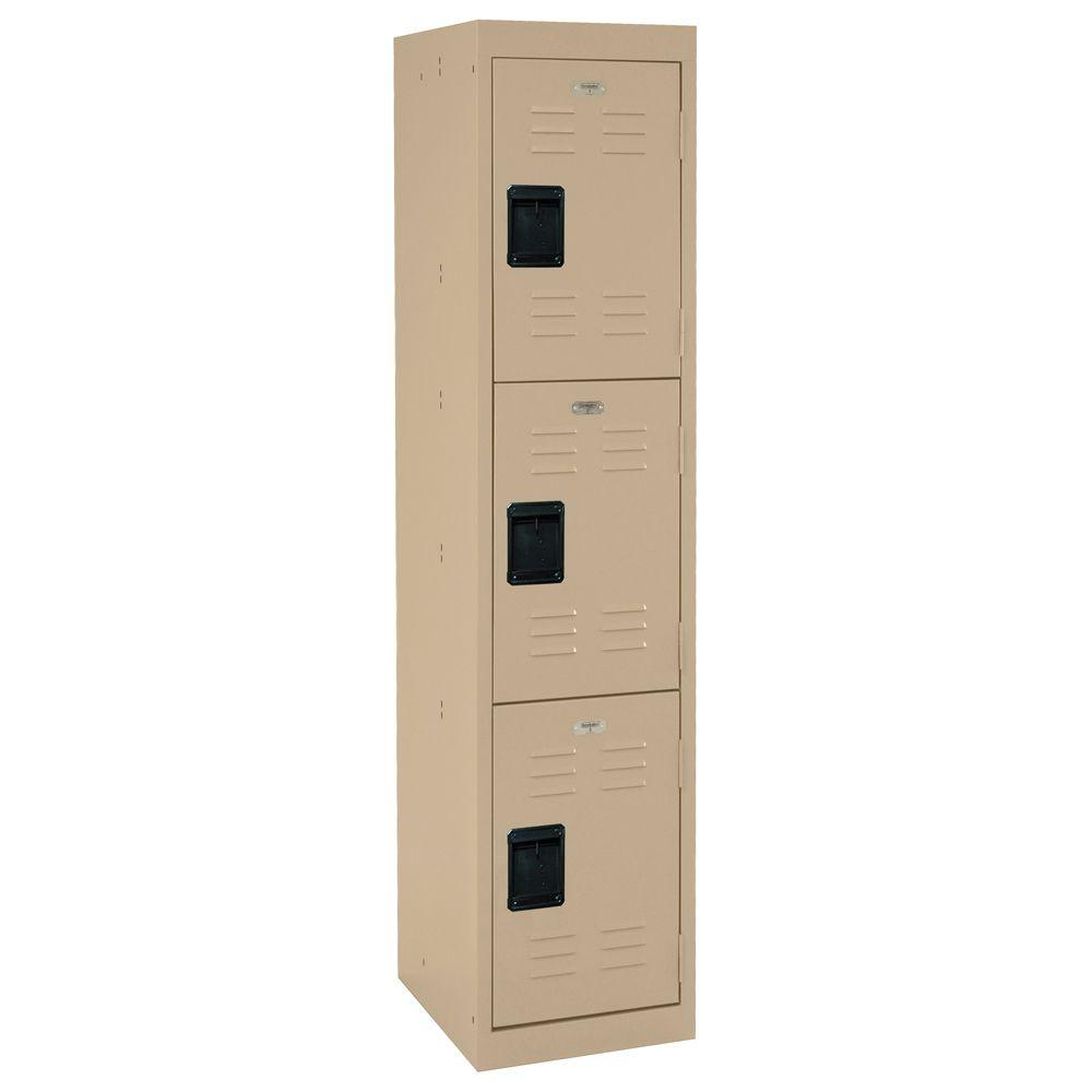 Sandusky 66 in. H 3-Tier Welded Steel Storage Locker in Tropic Sand