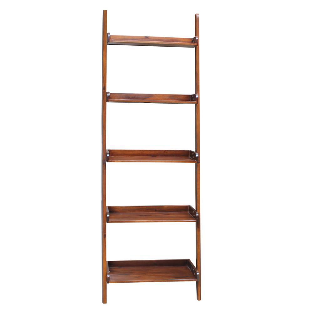 Leaning Espresso Ladder Bookcase