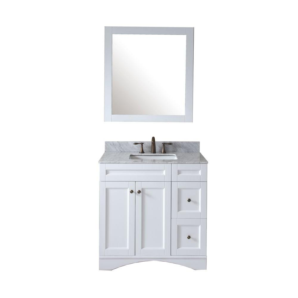 Virtu USA Elise 36 in. W Bath Vanity in White with Marble Vanity Top in White with Square Basin and Mirror