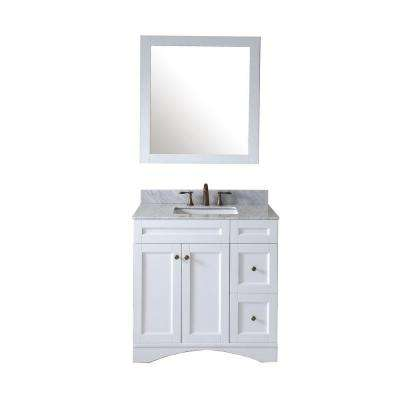 Elise 36 in. W Bath Vanity in White with Marble Vanity Top in White with Square Basin and Mirror