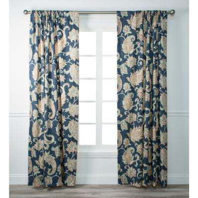 Malang Sapphire Cotton Lined Tailored Panel - 50 in. W x 84 in. L