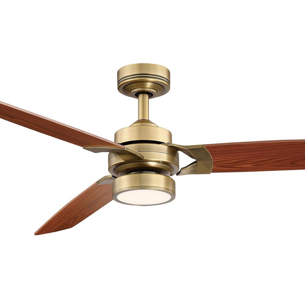 Alexis 52 in. LED Aged Brass Ceiling Fan