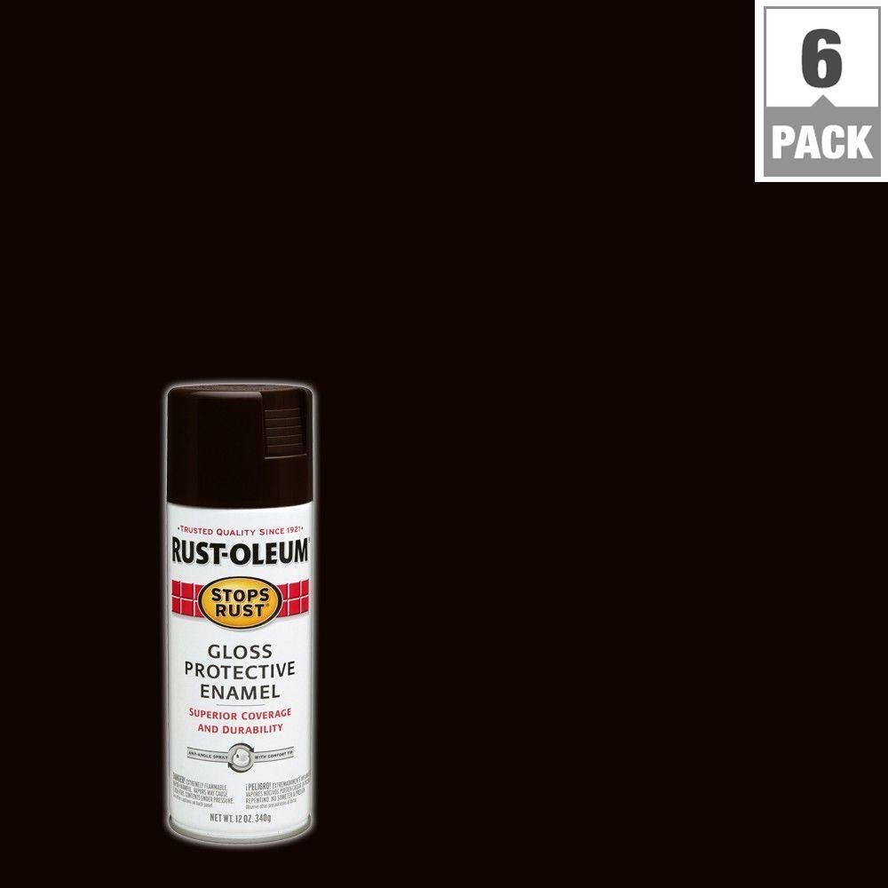 12 oz. Protective Enamel Dark Walnut Gloss Spray Paint (6-Pack)