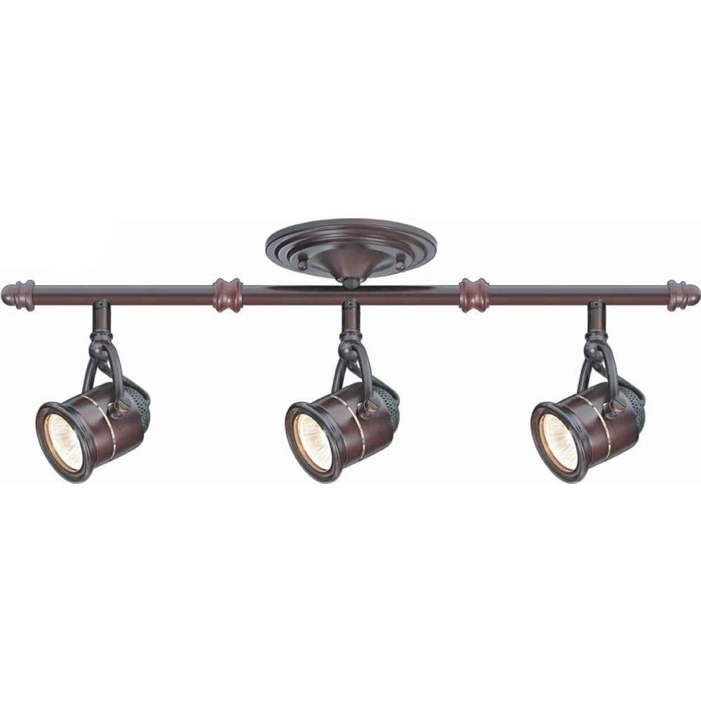 3 Light Antique Bronze Ceiling Bar Track Lighting Kit