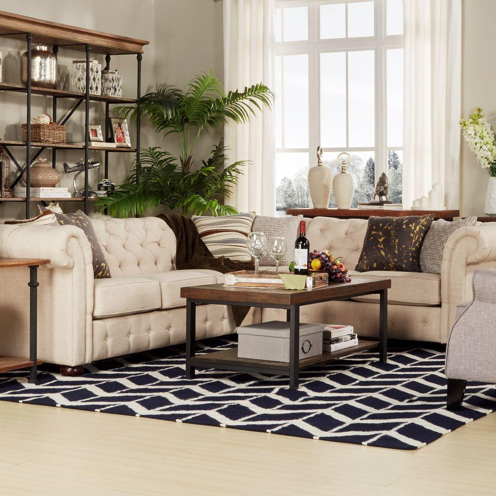 Homesullivan radcliffe 3 piece oatmeal linen sectional for Room store furniture
