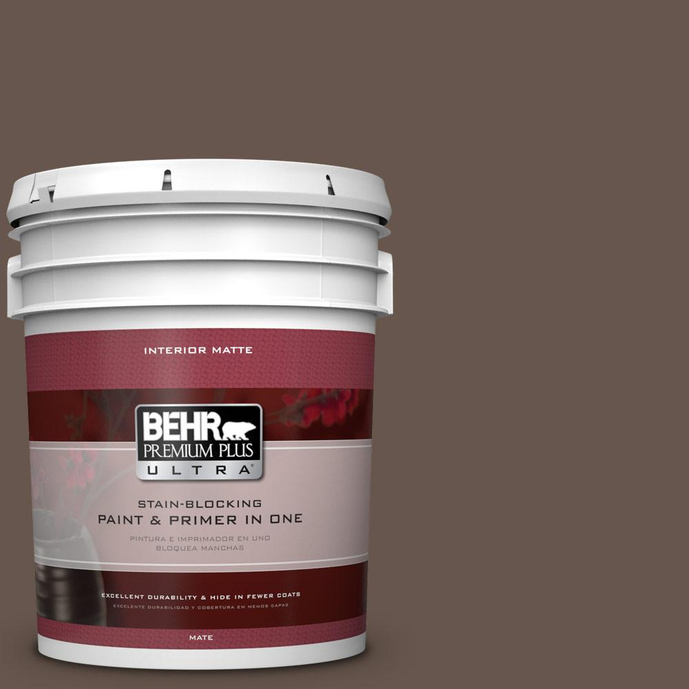 BEHR Premium Plus Ultra 5 gal. #PPU5-18 Chocolate Swirl Matte Interior Paint and Primer in One