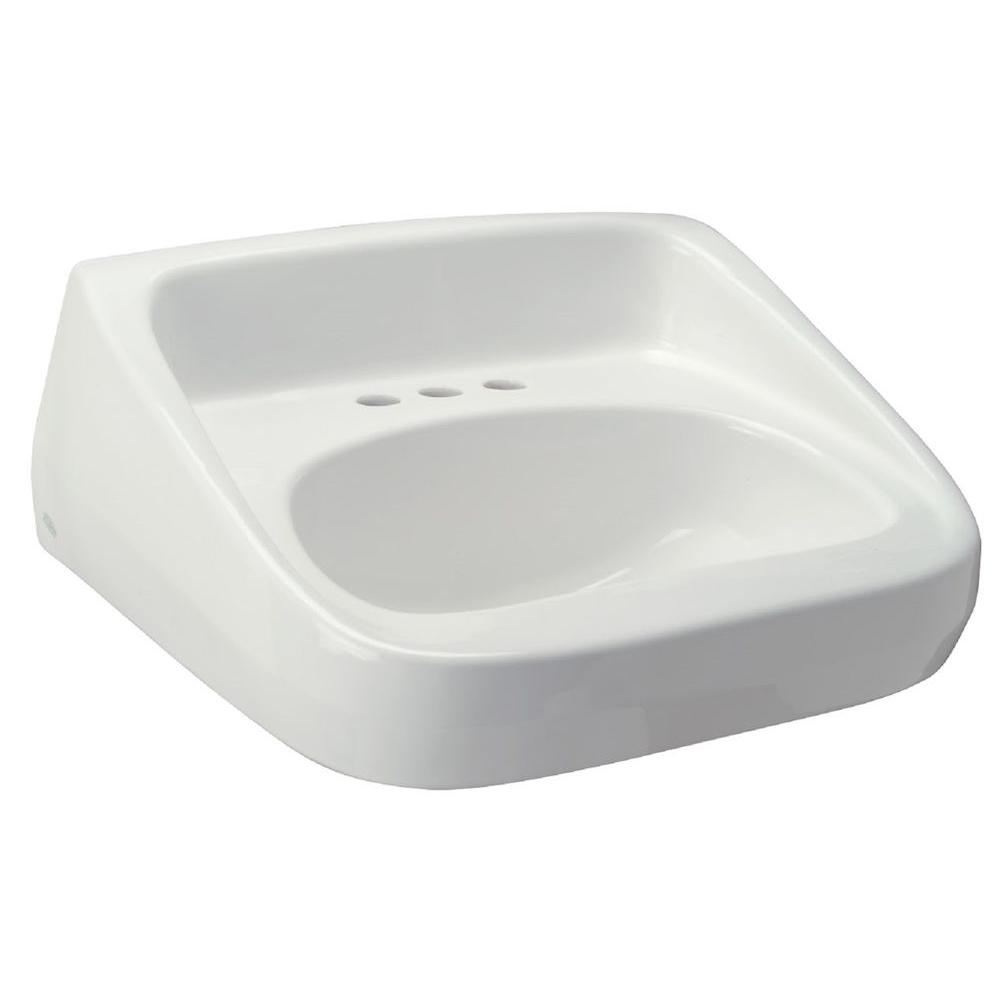High Back Standard Wall-Mounted Bathroom Sink in White