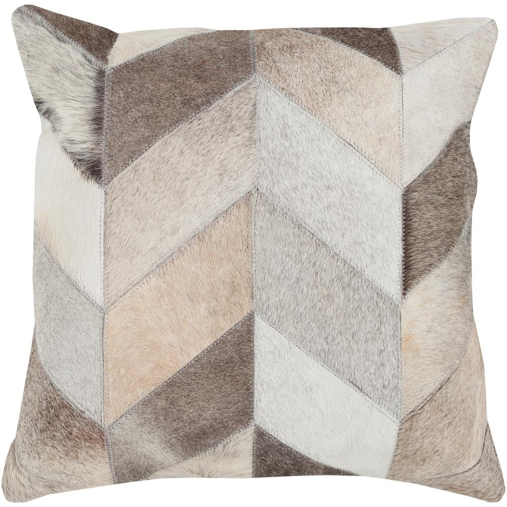 Mukurthi Beige Geometric Polyester 18 in. x 18 in. Throw Pillow