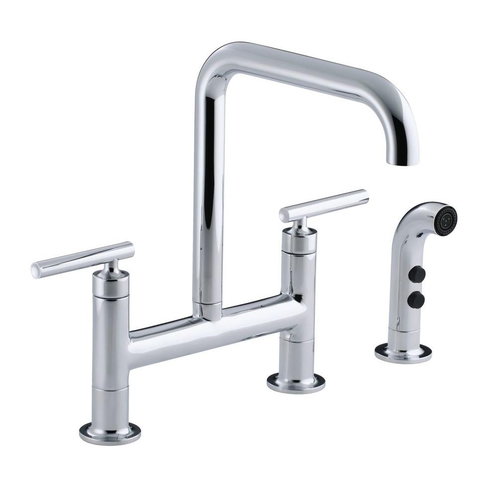 2 handle deck mount high arc bridge kitchen