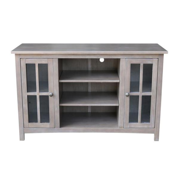 48 in. Weathered Taupe Gray Wood TV Stand Fits TVs Up to 50 in. with Storage Doors