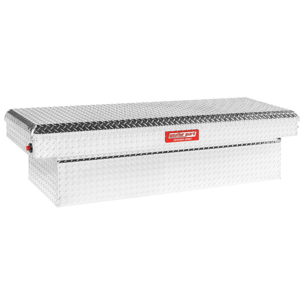 Weatherguard Weather Guard 71.38 in. Diamond Plate Aluminum Full Size Crossbed Truck Tool Box, Silver