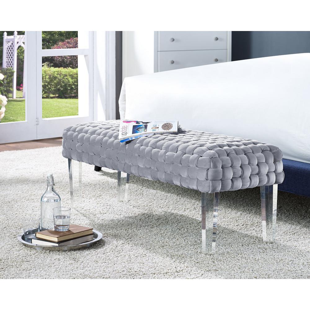 Sal Woven Gray Velvet Bench