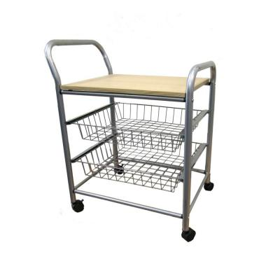 Silver Kitchen Cart With Baskets