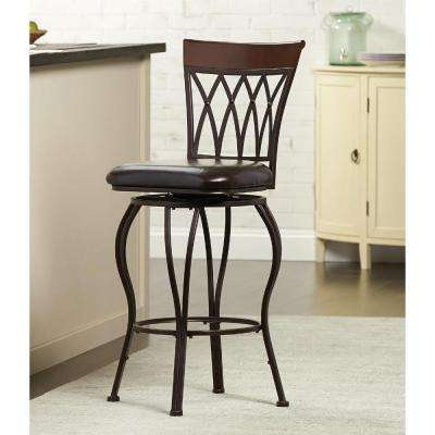 Classic Metal Swivel Bar Stool with Square Cushion in Brown