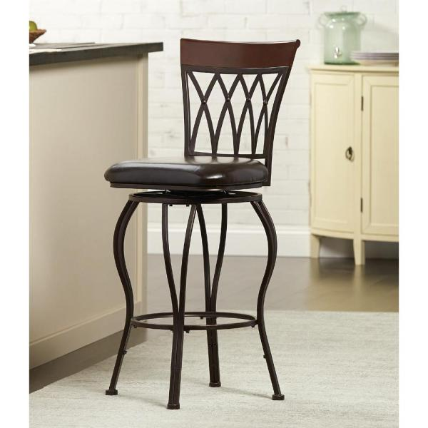 Home Decorators Collection Classic Metal Swivel Bar Stool with Square Cushion in Brown