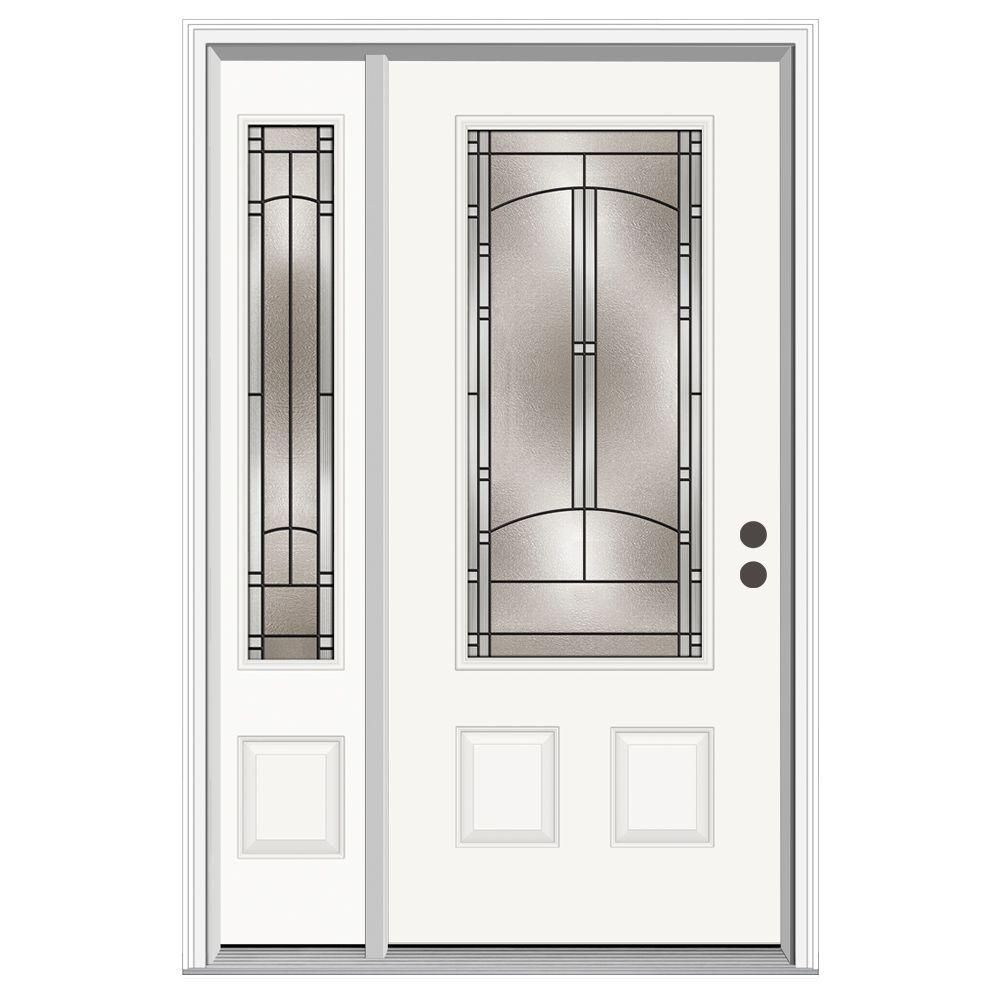 JELD-WEN 50 in. x 80 in. 3/4 Lite Idlewild Primed Steel Prehung Left-Hand Inswing Front Door with Left-Hand Sidelite