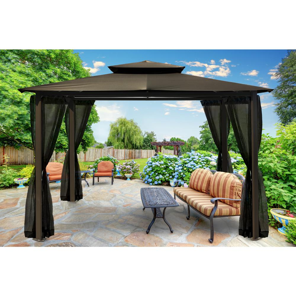 paragon 10 ft x 12 ft grey roof outdoor gazebo with mosquito