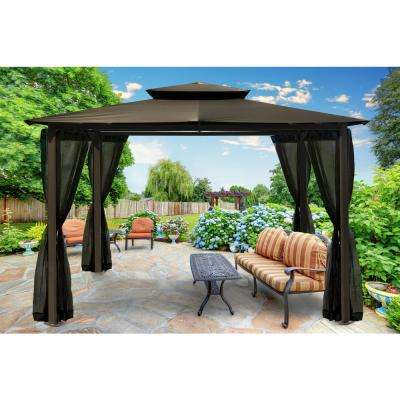 Paragon 10 ft. x 12 ft. Grey Roof Outdoor Gazebo with Mosquito Netting
