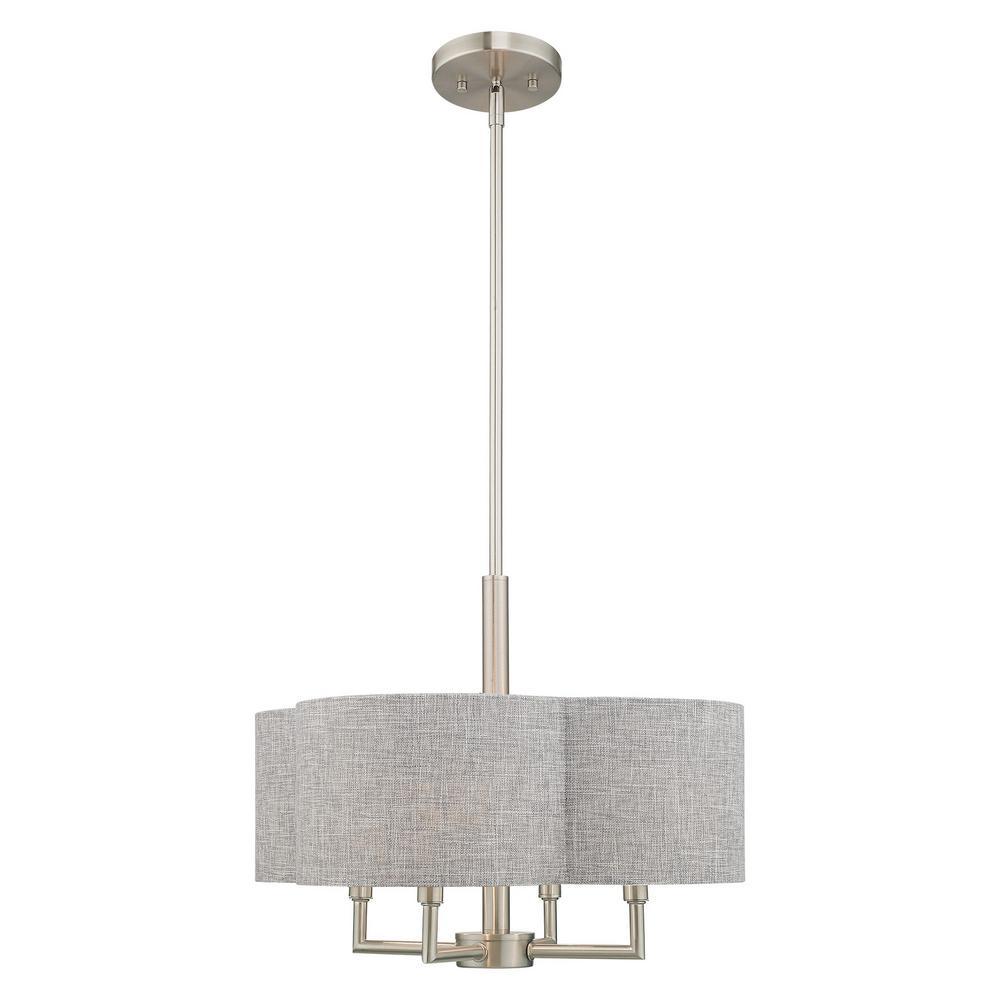 Livex Lighting Kalmar 4 Light Brushed Nickel Pendant Chandelier With Gray Fabric Hardback Shad