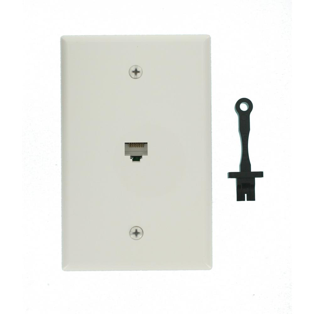 Leviton Cat5e Wall Jack Wiring Diagram Will Be A Ether Together With Rj45 Data Mid Sized Plate White R02 40540 0mw The Rh Homedepot Com Ethernet Cat5 Keystone