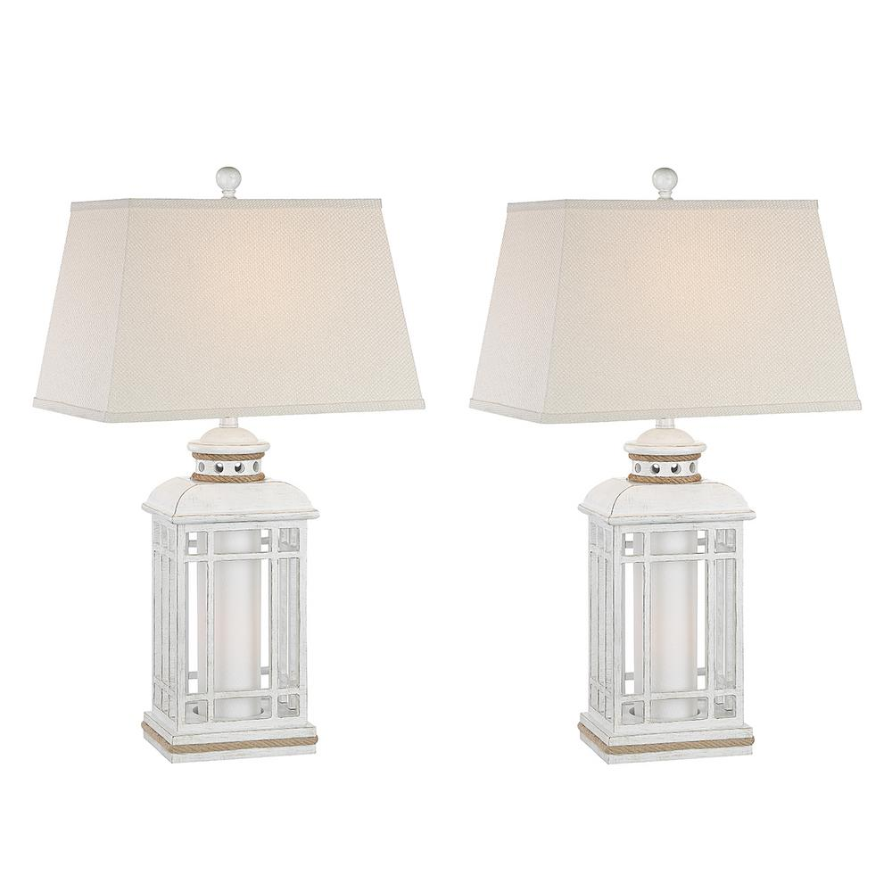 Internet 309425297 30 5 in antique white indoor table lamp set