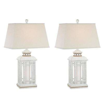 30.5 in. Antique White Indoor Table Lamp Set