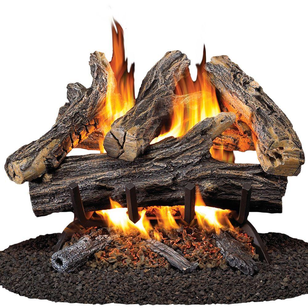 The ProCom 18 in. 45K BTU Vented Gas Fireplace Logs features realistic burning ember beds. This is an ANSI certified product and suitable for indoor usage. It provides a gorgeous look with flame pattern and wood stack design.