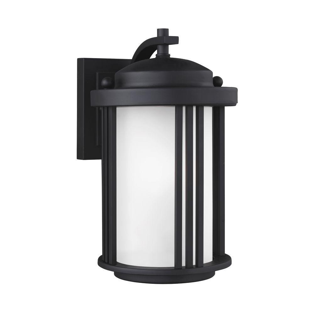 Crowell 1-Light Black 10 in. Wall Lantern Sconce