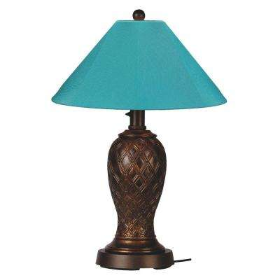 Monterey 34 in. Bronze Outdoor Table Lamp with Aruba Shade