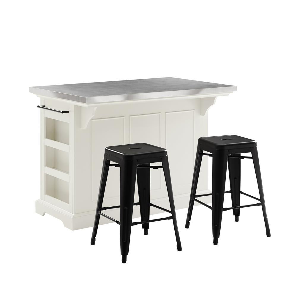 Awe Inspiring Crosley Furniture Julia White Kitchen Island With Stools Spiritservingveterans Wood Chair Design Ideas Spiritservingveteransorg