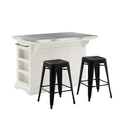 Julia White Kitchen Island with Stools