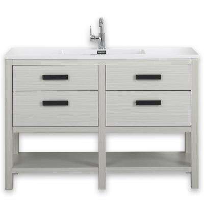 47.2 in. W x 32.3 in. H Bath Vanity in Gray with Resin Vanity Top in White with White Basin