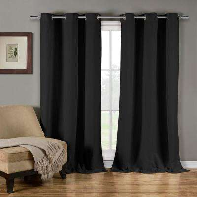 Mildred 38 in. W x 84 in. L Polyester Window Panel in Black