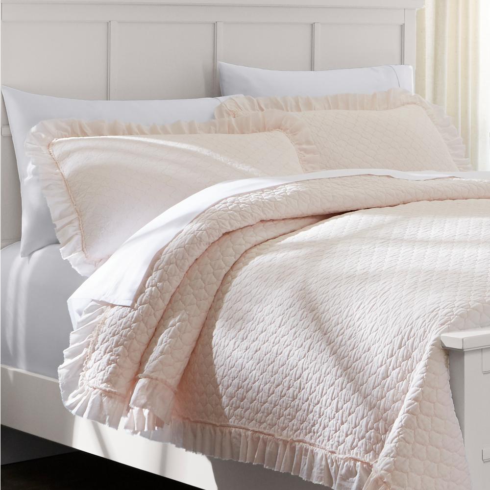 Evalee Cotton Ruffled Petal Solid Quilt Set