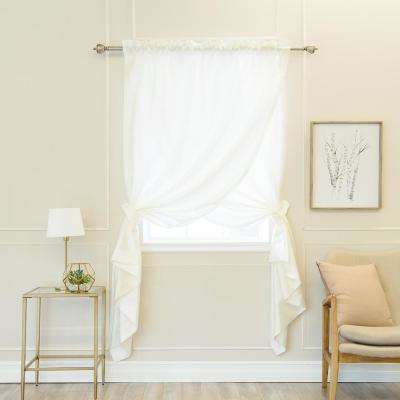 Ivory 84 in. L Faux Silk Overlap Curtain Panel (1-Pack)