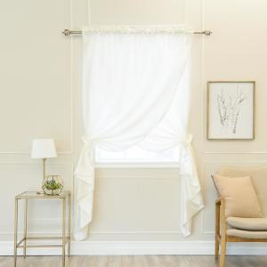 Ivory 84 inch L Faux Silk Overlap Curtain Panel (1-Pack) by